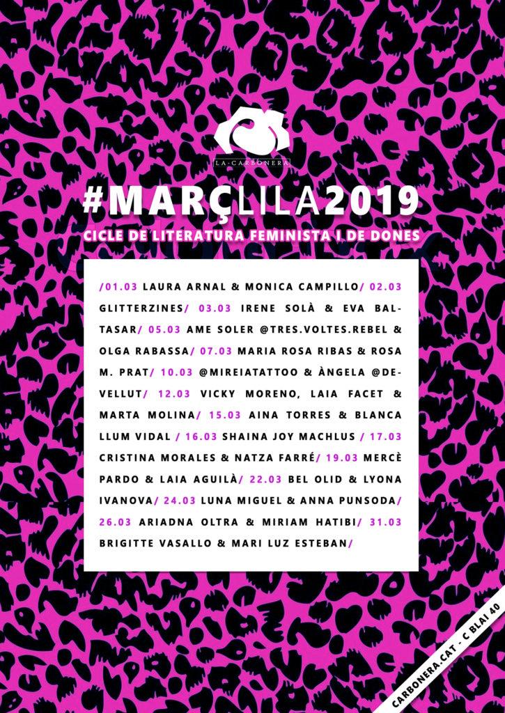 Cartell del cicle de literatura feminista #MarçLila2019 de la llibreria La Carbonera.